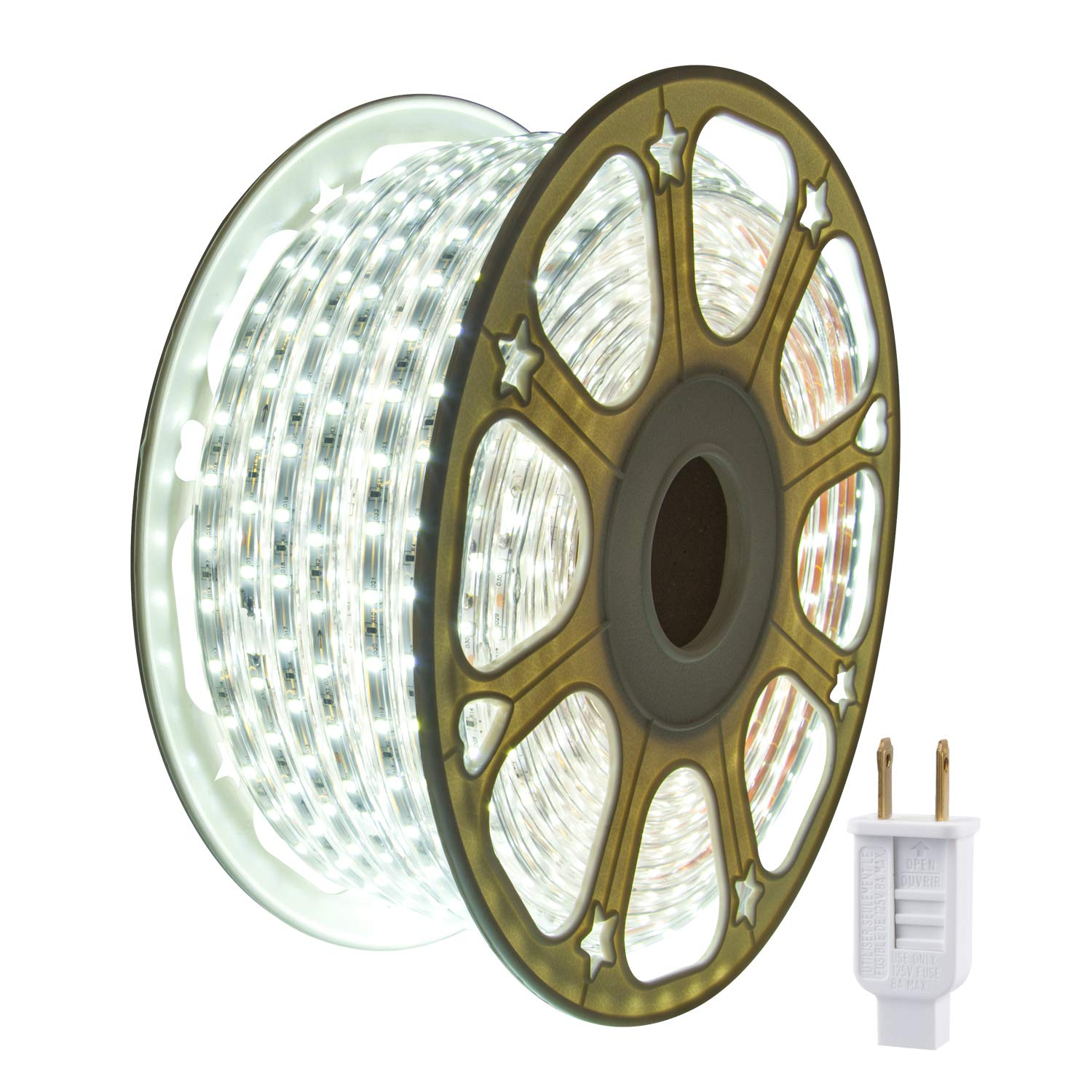 JUNWEN LED Strip Rope Lights,Outdoor,Indoor,Daylight White,Waterproof,2100LEDS,114FT/35M,Xmas Decorative,Plugin 110V, String Lighting, Flexible, SMD 2835,Connectable, Cuttable, Connector,Fuse Holder
