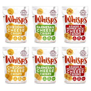 Whisps Cheese Crisps 6 Pack Assortment | Keto Snack, Gluten Free, Sugar Free, Low Carb, High Protein | Parmesan, Cheddar and Asiago & Pepper Jack 2.12oz (6 pack)