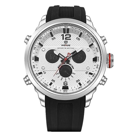 WEIDE hombres de cuarzo Casual Relojes analógico Digital Deportivo reloj de pulsera impermeable militar Ejército reloj