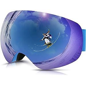 503f29fcd4 Philonext Gafas de Esquí,Gafas de Nieve de Snowboard Unisex Gafas Esqui  Snowboard-Azul