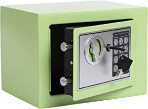 Heroecol 0.17 Cubic Feet Electronic Security Safe Box Digital Deposit Box for Home Office Hotel Business Lock Box for Cash Jewelry Storage (Light Green, 17)