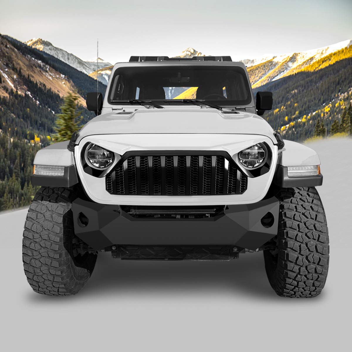 American 4wheel White /& Black Gladiator Vader Grille Grill for Jeep Wrangler 2018-2019 JL JLU ABS