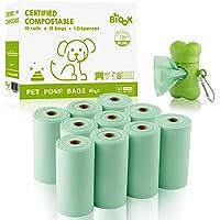 BIOOK Bolsas Caca Perro 100% Biodegradable con 1 Dispensador, Materiales Basados en PLA+PBAT+Almidón de Maíz y…