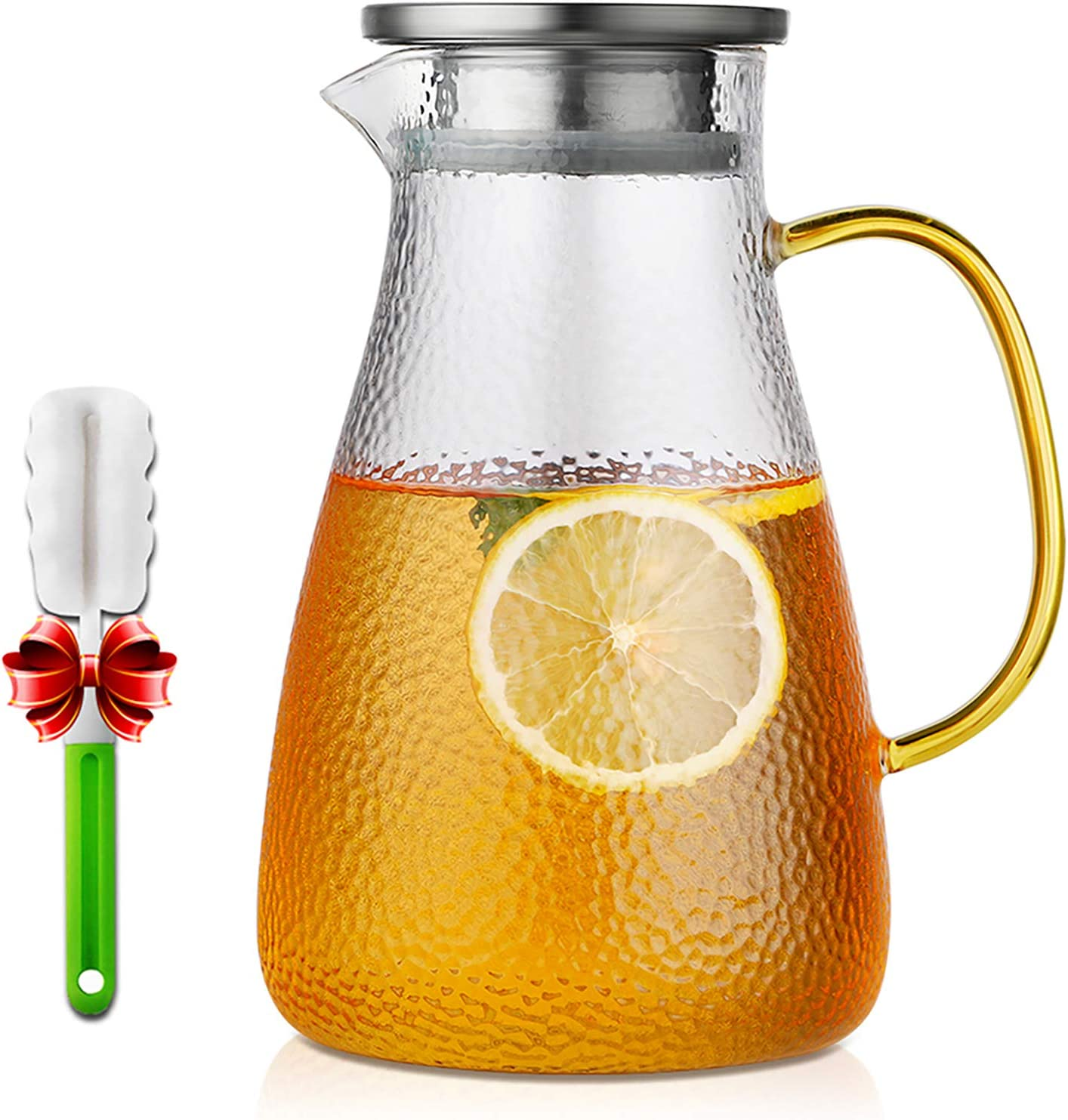 Water Pitcher, ONEISALL Glass Pitcher with Lid and Drip-Free Spout for Homemade Juice/Iced Tea, Hot/Cold Water Carafe with Handle - 50 Ounce/1.5 Liter