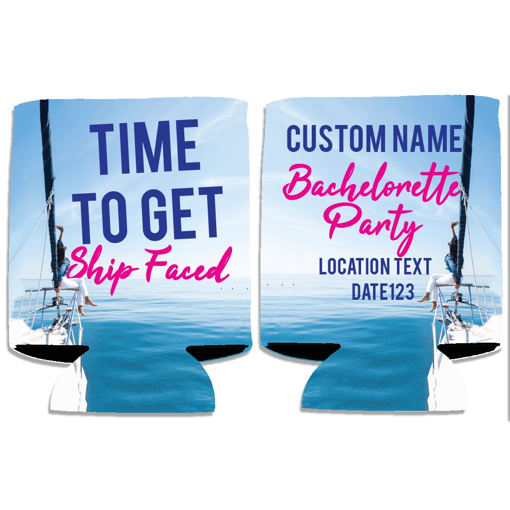 VictoryStore Can and Beverage Coolers: Neoprene Customizable Nautical Bachelorette Can Coolers (Time To Get Ship Faced, 48)