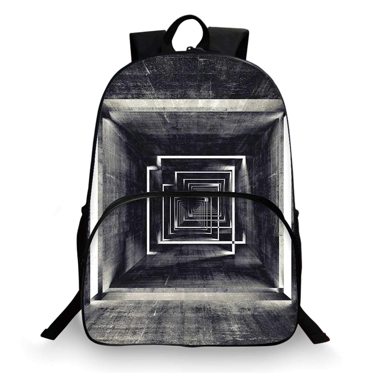 Dark Grey Various Schoolbag,Architecture Perspective Tunnel Interior Grungy Corridor Construction for student,11''Lx6''Wx15''H by C COABALLA