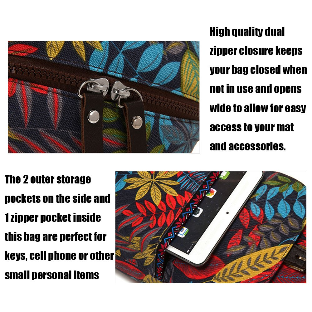 Azo free dye fabric Red /& Yellow NO fading NO shrink after washing Eco Friendly Printing 2 Functional Pockets 2 Functional Pockets Canvas Yoga Mat Sling Bag ZOOPOLR Yoga Mat Bag and Carrier Adjustable Strap