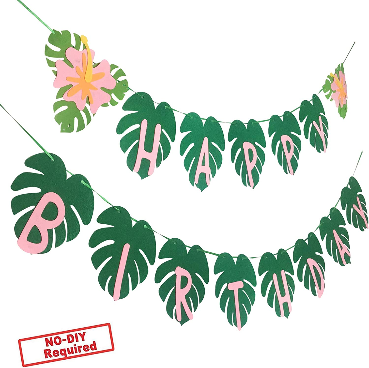Party Nice Hawaiian Party Happy Birthday Banner for Tropical Luau Party Palm Leaf Decorations
