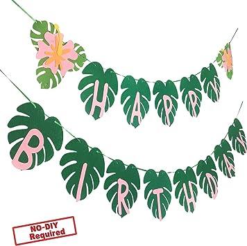 Amazon.com: Banderín de cumpleaños para fiesta hawaiana para ...