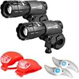 HeroBeam Bike Lights Double Set - The Ultimate Lighting and Safety Pack of Super Bright Front Bicycle Lights, Tail Lights and Wheel Lights - 5 Year Warranty