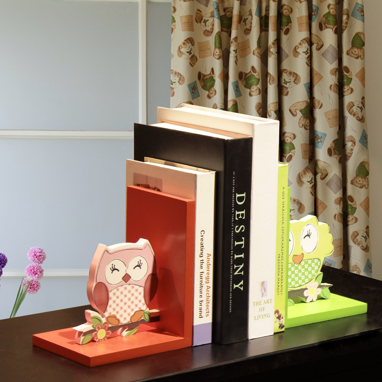 Adeco Decorative Faux-Stitched Owls Children's Wood Bookends (Set of 2)