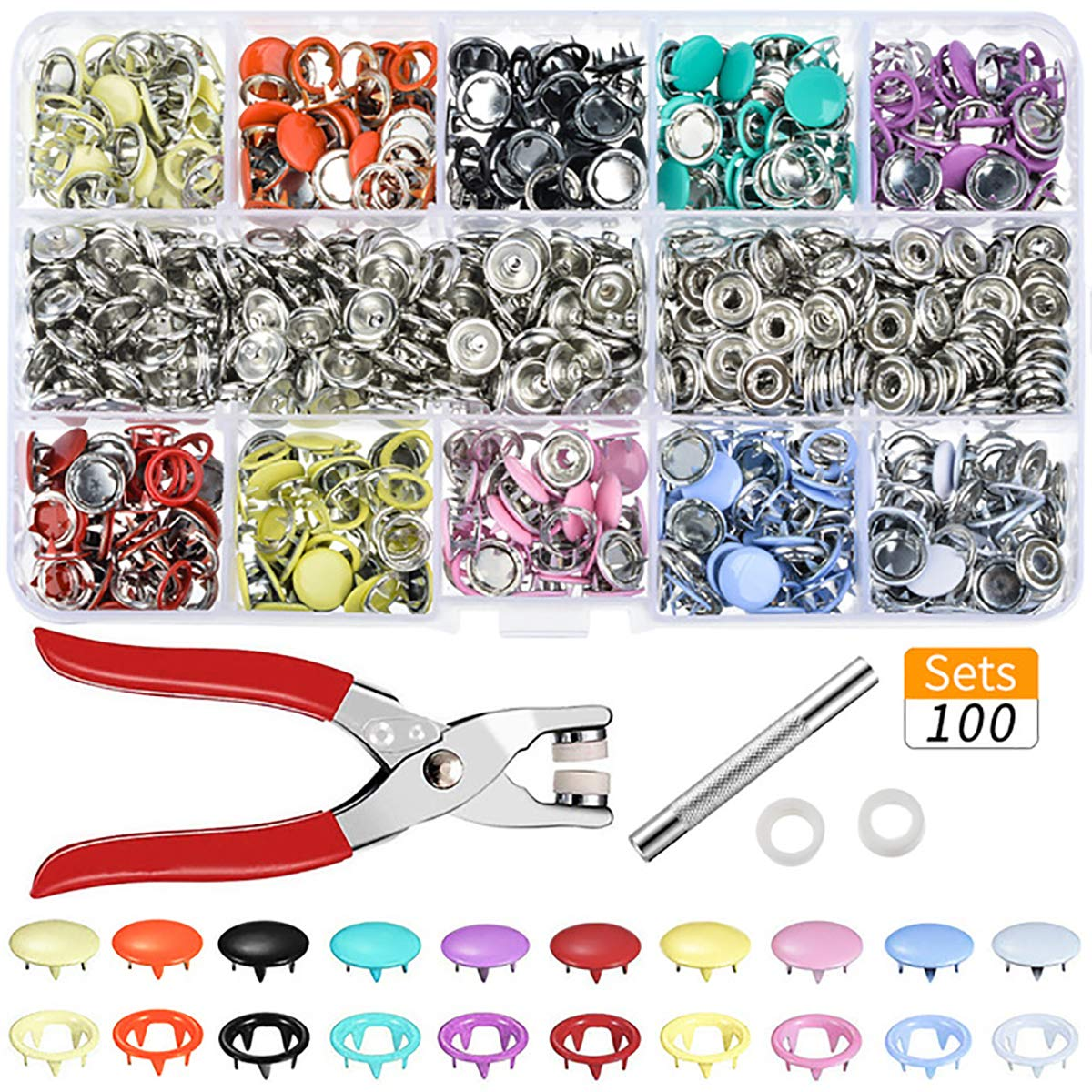 Cozylkx 100 Sets Snap Fasteners Kit, 10 Assorted Colors Metal Sewing Buttons Press Studs with 3 Pieces Fixing Tools for Bags, Garments, Leather by Cozylkx