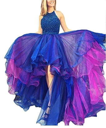 f2e49c3c6c9 YuNuo Women s High Low Beading Champagne Organza Halter Prom Dresses Blue 2
