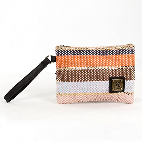 For Time Monedero, Bolso Rafia de Mano Multicolor para Mujer, 20x15x1 cm