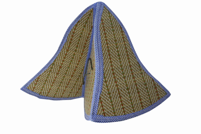 Estilo chino plegable Sun de la paja del casquillo del visera del sombrero Para Hombres Y Mujeres Azul