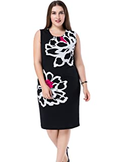 b52984d4dc Chicwe Women's Plus Size Lined Floral Printed Sleeveless Dress - Knee  Length Work and Casual Dress