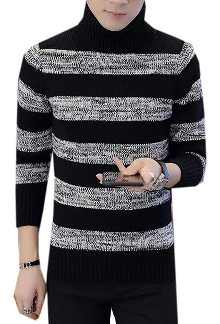 XiaoTianXin-men clothes XTX Mens Stripe Regular Fit Knitted Turtle Neck Pullover Sweater Jumper Top