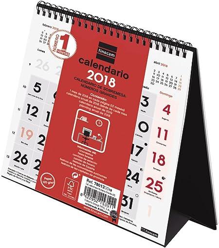 Finocam Neutro - Calendario de sobremesa números grandes 2018, español, 140 x 150 mm, 120 g/m²: Amazon.es: Oficina y papelería