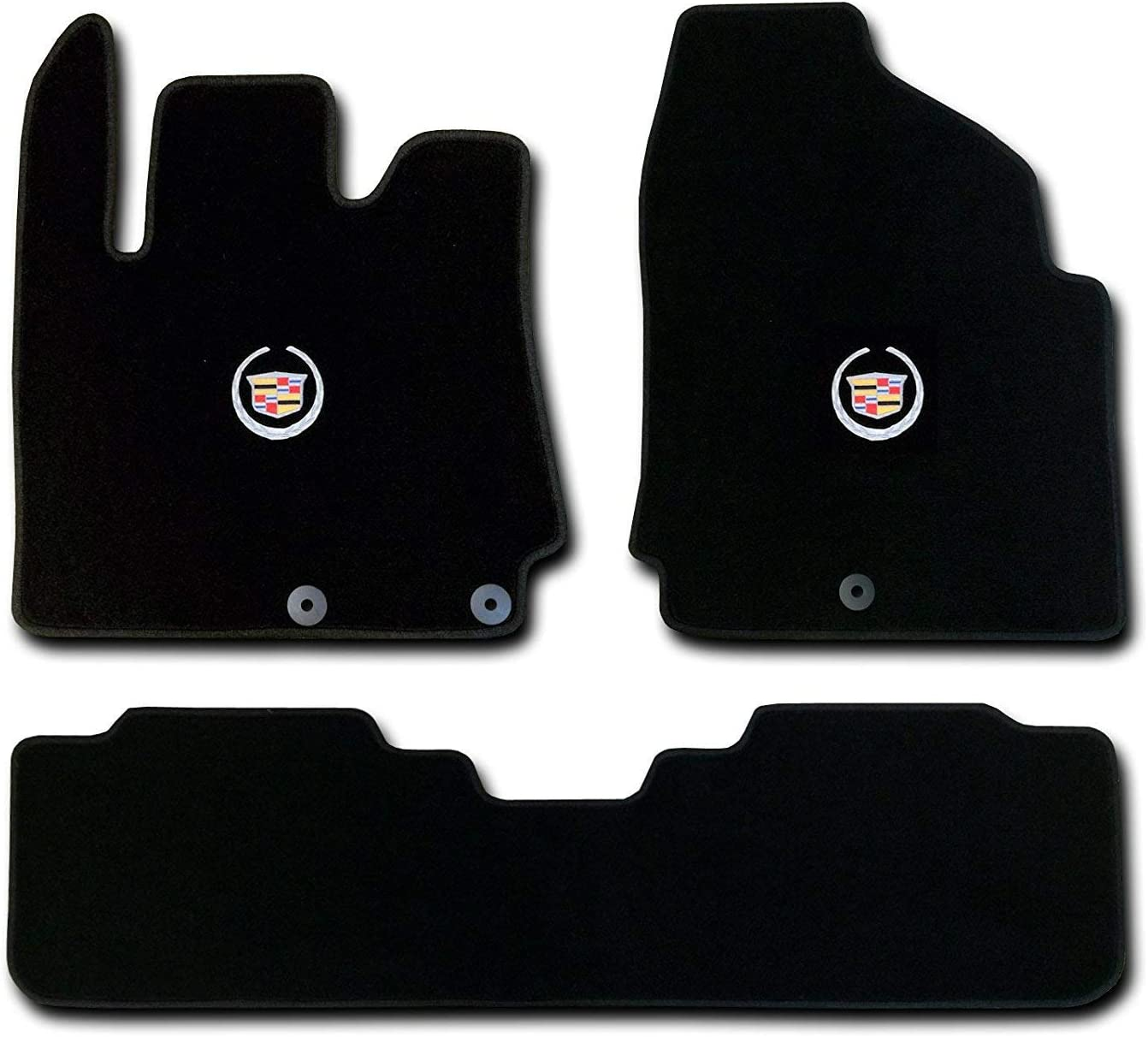 Avery's Floor Mats Part Compatible with Cadillac SRX 3 Pc (2 Fronts / Rear Runner) Black Custom Fit Carpet Set with Licensed Cadillac Crest Logo on fronts - Fits 2010 11 12 13 14 15