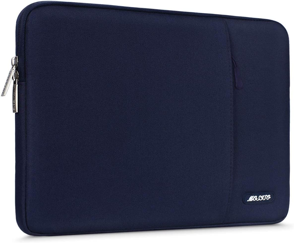 MOSISO Laptop Sleeve Bag Compatible with 15 inch MacBook Pro Touch Bar A1990 A1707, ThinkPad X1 Yoga, 14 Dell HP, 2019 Surface Laptop 3 15, Polyester Vertical Case Cover with Pocket, Navy Blue