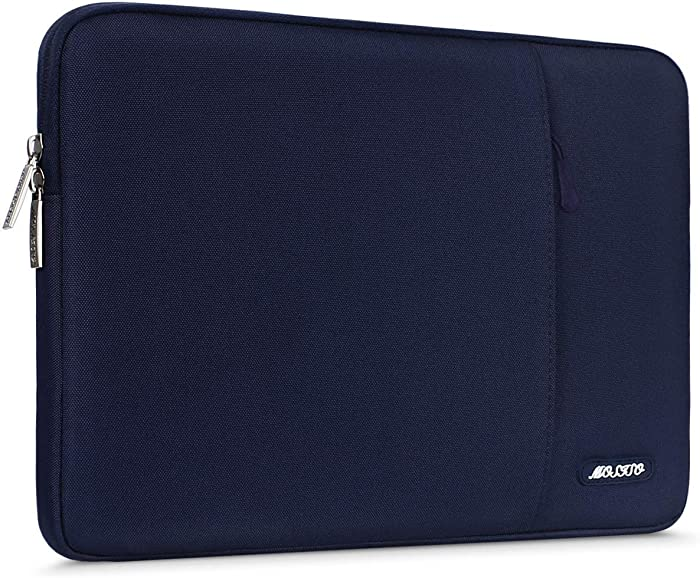 MOSISO Laptop Sleeve Bag Compatible with 13-13.3 inch MacBook Pro, MacBook Air, Notebook Computer, Water Repellent Polyester Vertical Protective Case Cover with Pocket, Navy Blue