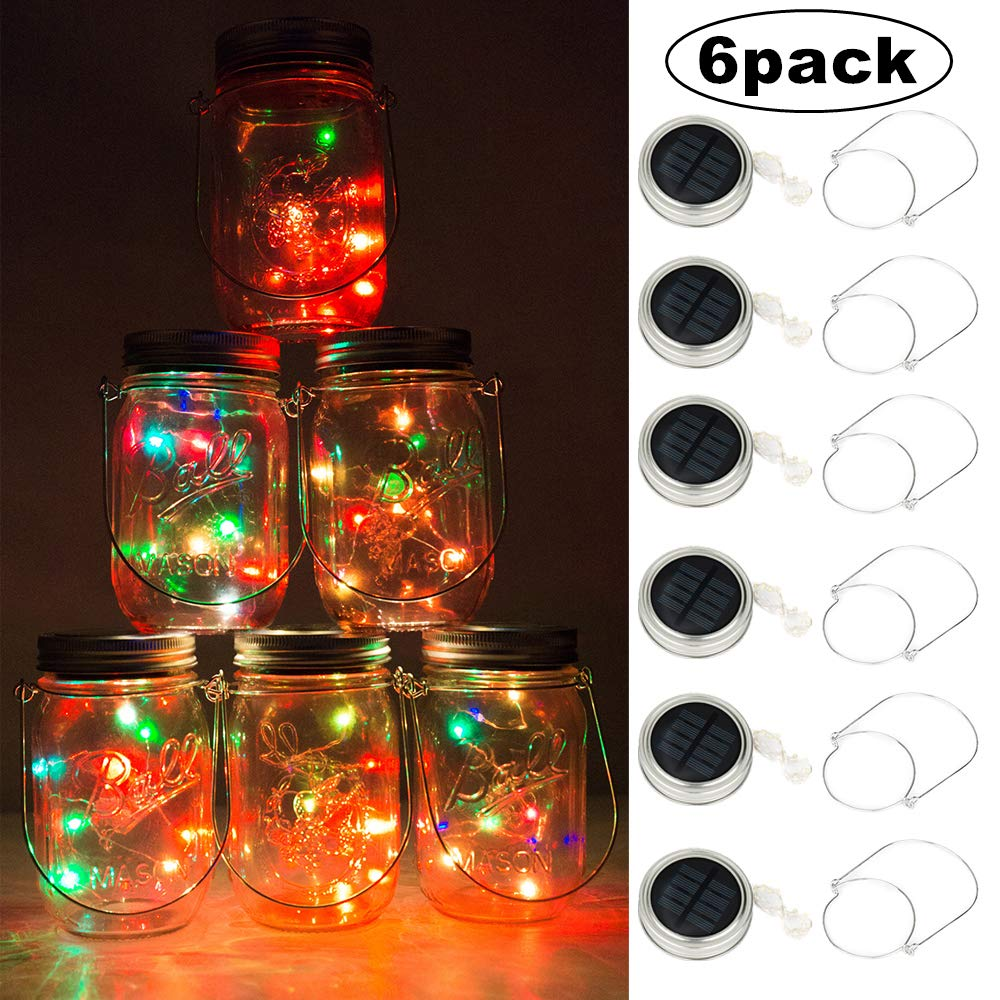 Solar Mason Jar Lights, BizoeRade Dual Row Solar Powered 10 LED Fairy Firefly String Lights(6 Pack Lid Lights and 6 Hangers Included),Fit Regular Mouth Mason Jars for Outdoor Decoration -Multicolor by BizoeRade