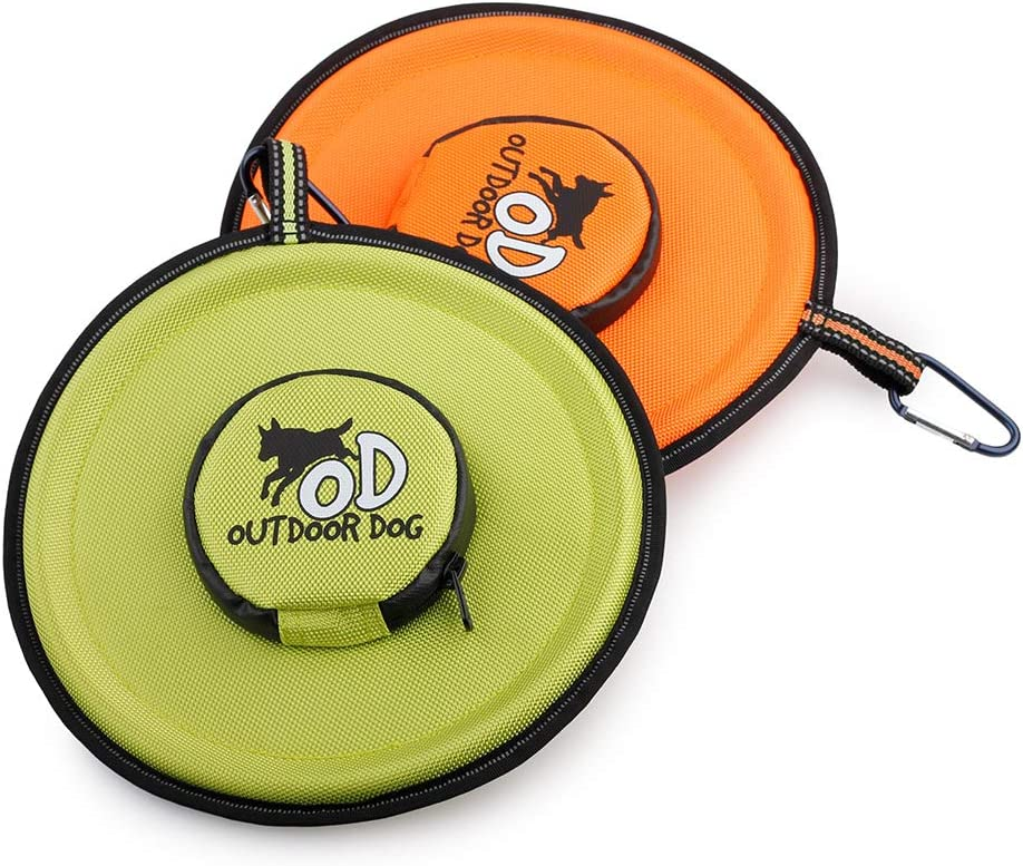 ALL FOR PAWS Dog Frisbee Chew Toys with Food Feeder Bowl Interactive Flying Disc Dog Fetch Toy - Floats in Water & Safe on Teeth (Pack of 2, Orange & Green)