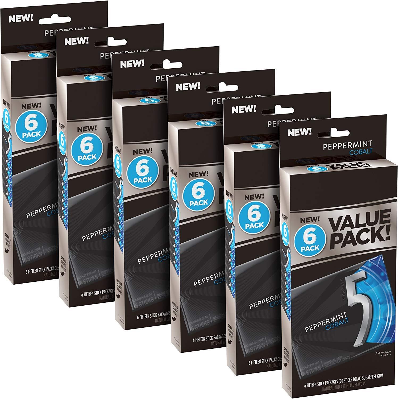 5 Gum Cobalt Peppermint Sugarfree Gum, 6 Value Packs, (36 packs total) (2) by 5 Gum