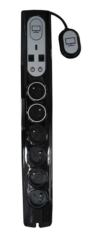 Otio - Bloc parafoudre Salon 6 prises 16A dont 2 alimentées en continu + interrupteur déporté + prises TV/SAT et RJ11 - noir 760040 prise parafoudre multiprise parafoudre prise anti foudre bloc prise bloc multiprise