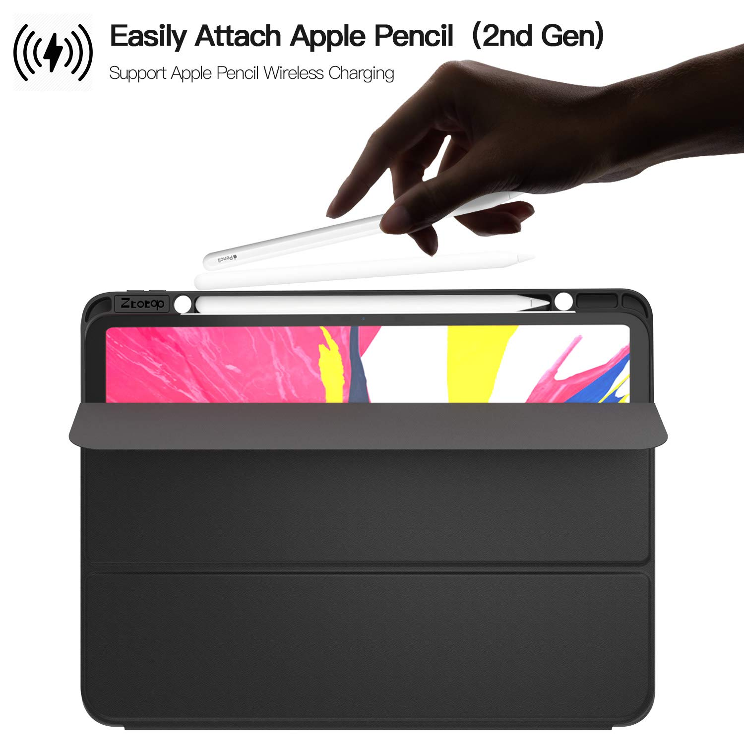 Ztotop Case for iPad Pro 12.9 Inch 2018, Full Body Protective Rugged Shockproof Case with iPad Pencil Holder, Auto Sleep/Wake, Support iPad Pencil Charging for iPad Pro 12.9 Inch 3rd Gen - Black by Ztotop (Image #4)