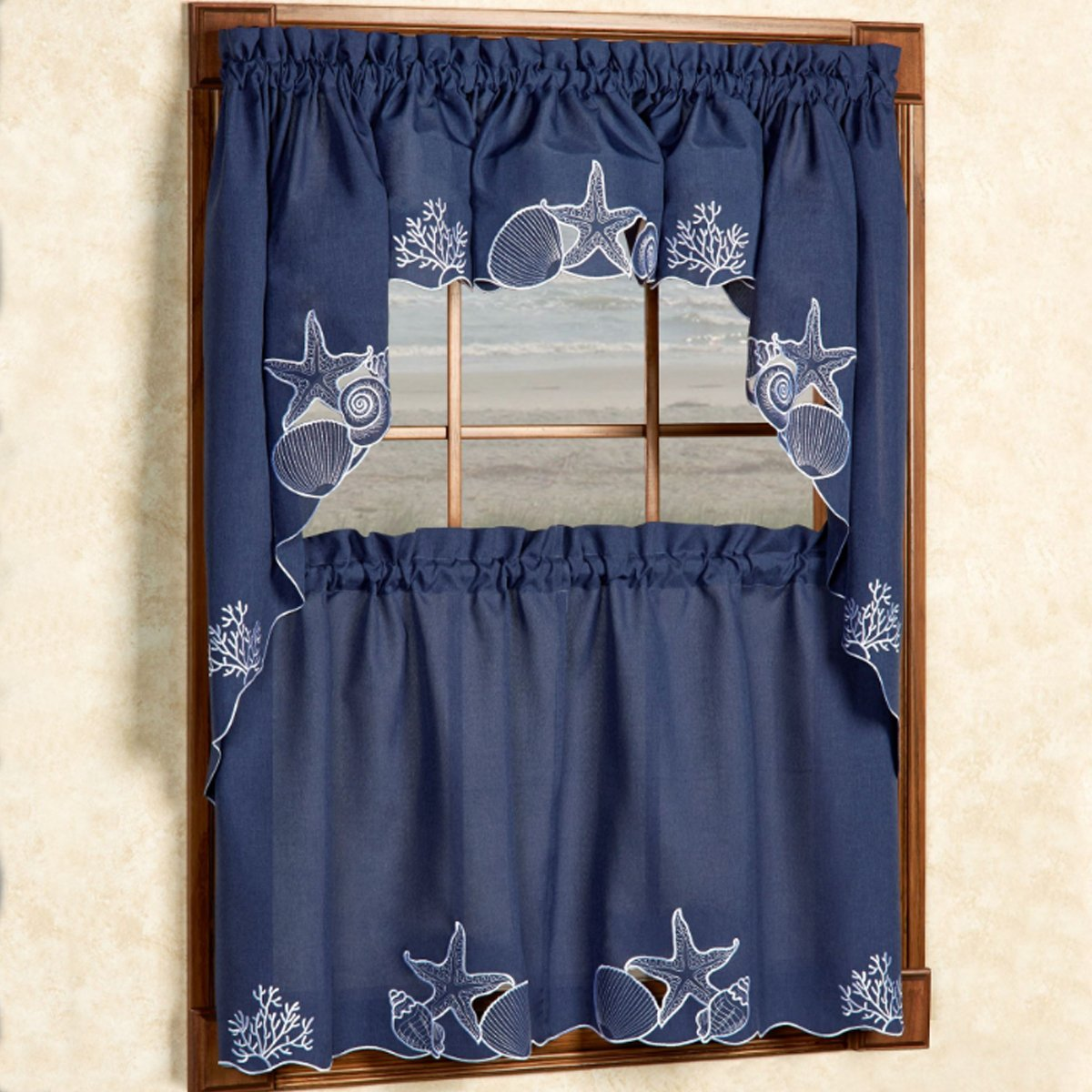 Block Blue//Green TSV-430-24-BLUGRN Sweet Home Collection 5 Pc Kitchen Curtain Set-Valance Swag Choice of 24 or 36 Tier Pair