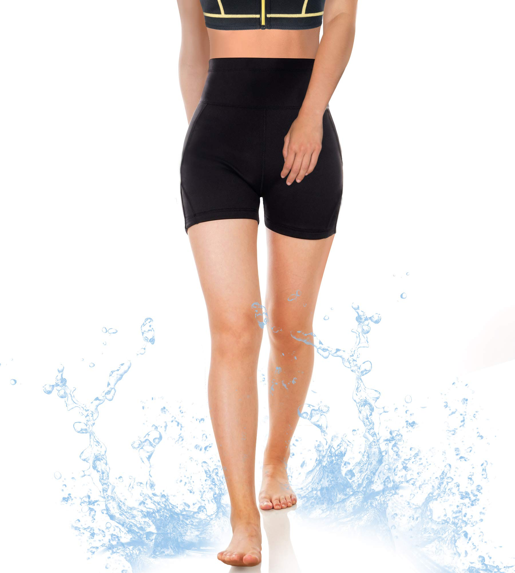 CtriLady Women Wetsuit Shorts Surfing Kayaking Snorkeling Swimming Pants Swimsuit Bottom Water Sports Swimwear Capris with Back-Zipper-Pocket(Black, Large) by CtriLady