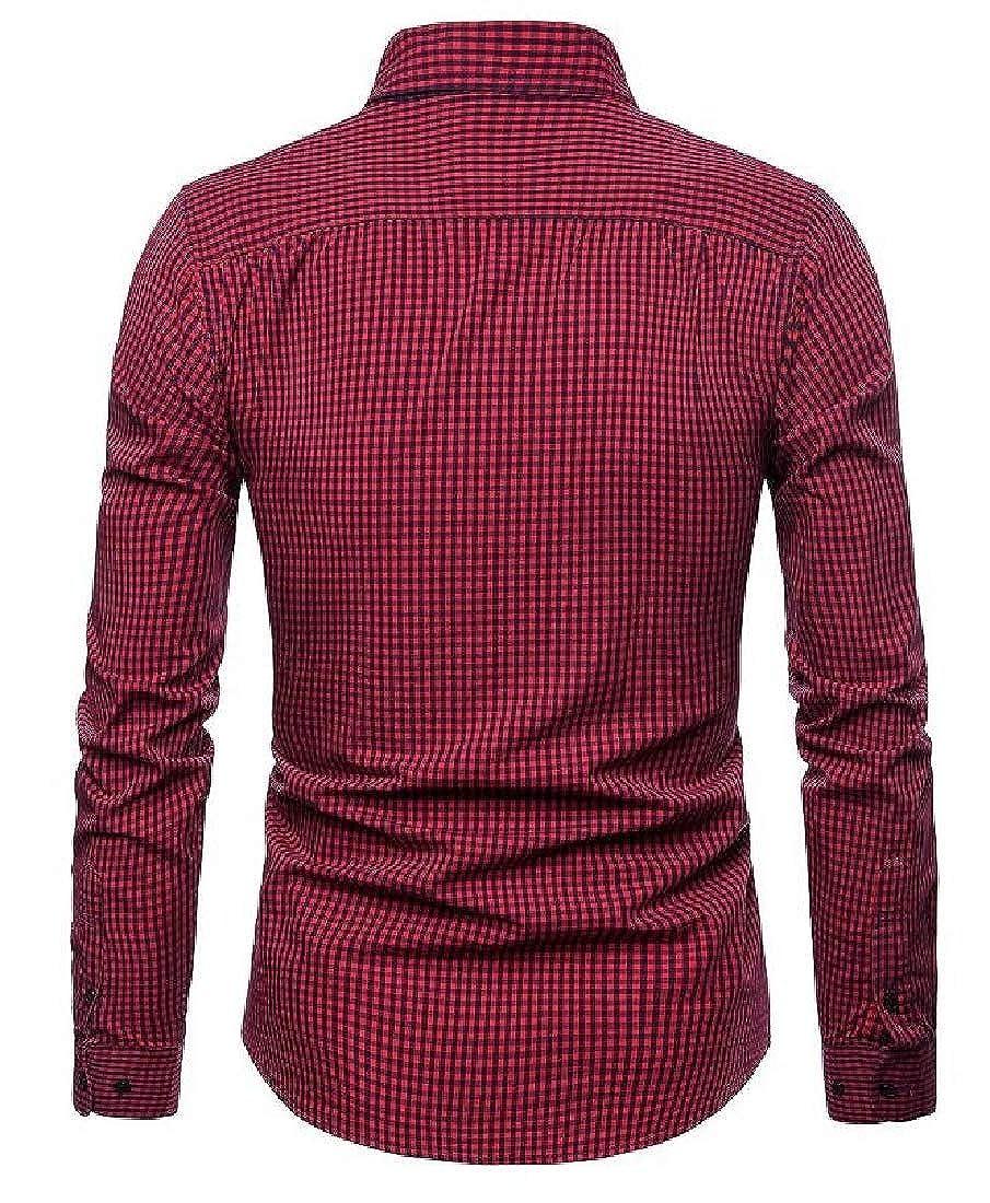 Yayu Men Plaid Shirt Casual Slim Fit Long Sleeve Button Down Dress Shirts
