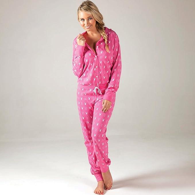 Playboy Pijama cuerpo entero pantalón largo Katrina para mujer (rosa)