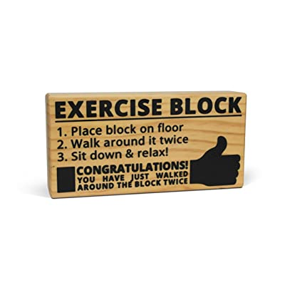 BigMouth Inc Exercise Block - Hilarious Wooden Exercise Tool with Imprinted Instructions Directly on the Block, Makes a Great Gag Gift: Toys & Games