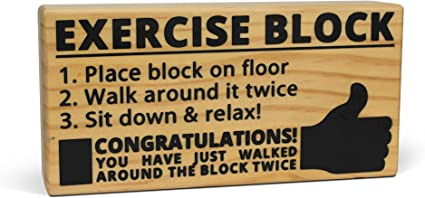 Hilarious Wooden Exercise Tool with Imprinted Inst BigMouth Inc Exercise Block
