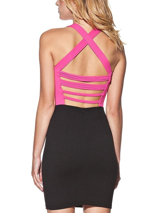 Candy Vestido Bicolor With Crossed Back Fucsia ES 40: Amazon.es: Ropa y accesorios