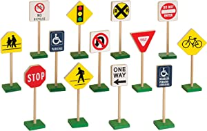 "Guidecraft 7"" Block Play Traffic Signs - Children's Educational Toys for Traffic Knowledge Learning, Kids Block Play"