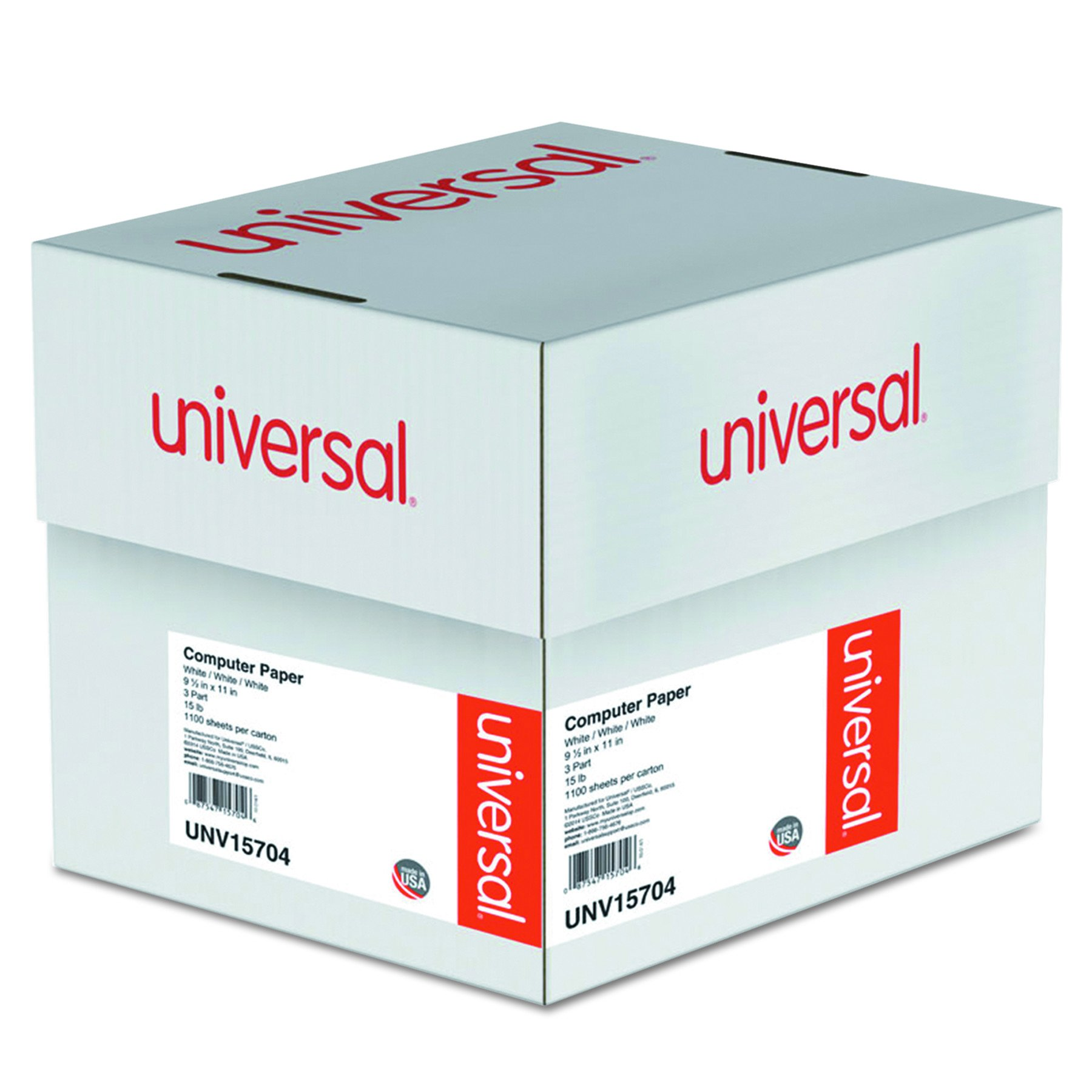 Universal Computer Paper, 3-Part Carbonless, 15lb, 9-1/2'' x 11'', White, 11'' 00 Sheets (15704) by Universal