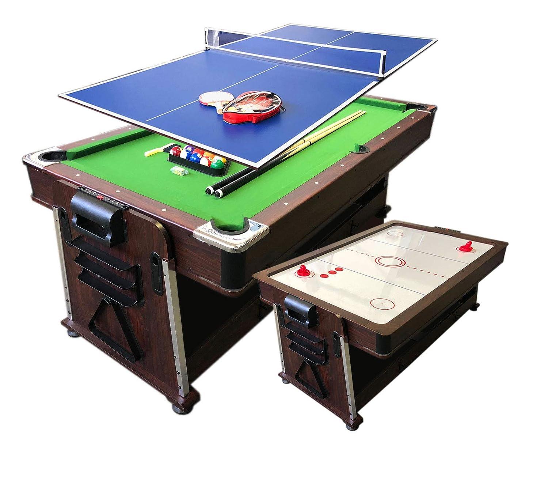simba usa 4 in 1 – 7フィート グリーンプールテーブル + エアホッケー + テニステーブル + ディナーテーブル B07MVKFCK6