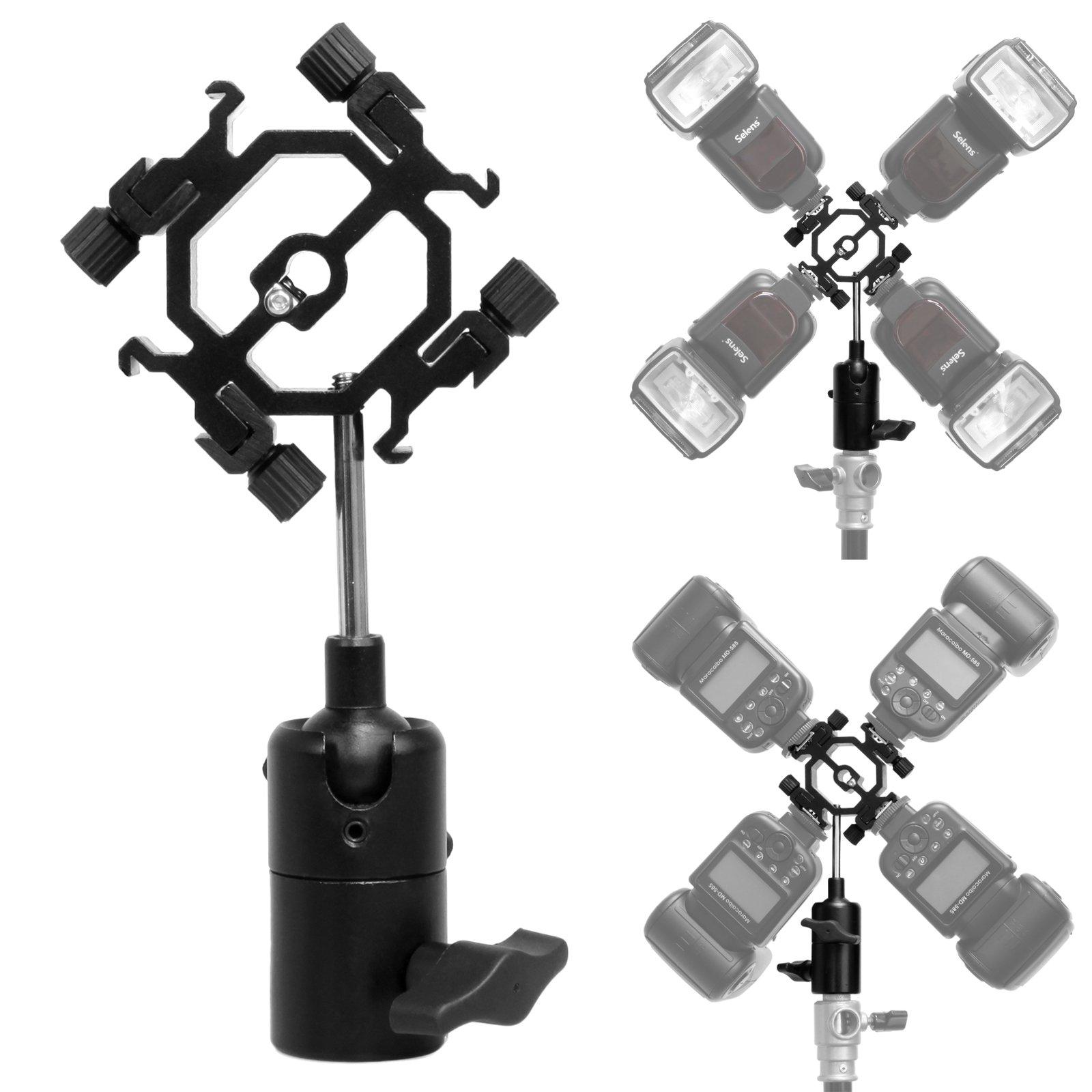 Mekingstudio 4 Way Hot Shoe Mount Light Stand Mount Flash Bracket with Umbrella Holder for Canon Nikon Yongnuo Godox Pentax Sigma Speedlight, LED Monitors, Microphones