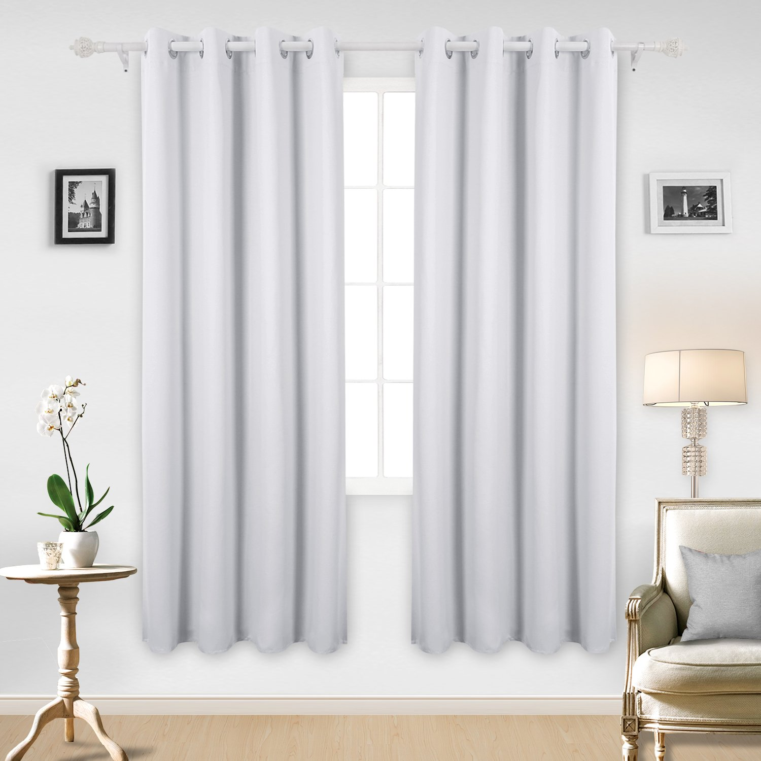 Deconovo Thermal Insulated Blackout Curtains Marble Design Texture Embossed Grommet Panel for Bedroom 52x84 Inch Off White One Pair