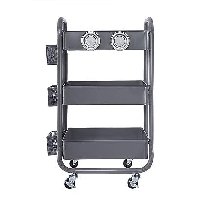 3 tier utility cart plastic members mark tier rolling utility storage cart grey amazoncom grey