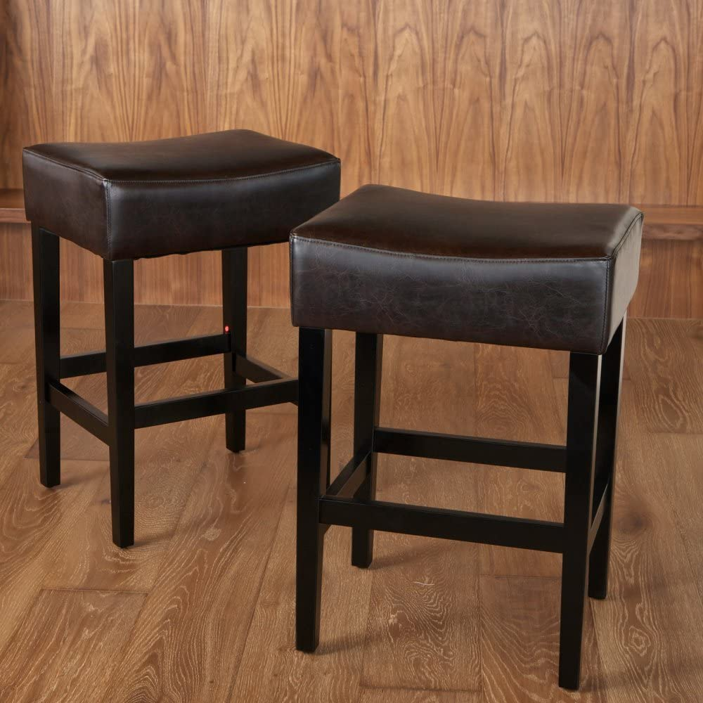 Noble House Leather Upholstered Backless Counter Stool – Set of 2