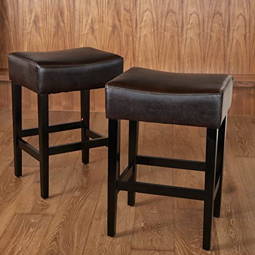 NFusion Lopez Backless Bonded Leather Counter Stool Color Brown