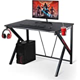 """ErgonomicGaming Desk – 42"""" K Shaped Computer Table for Home Office Gamer Workstation with 2 Headphone Hooks and Cable Management (Black)"""