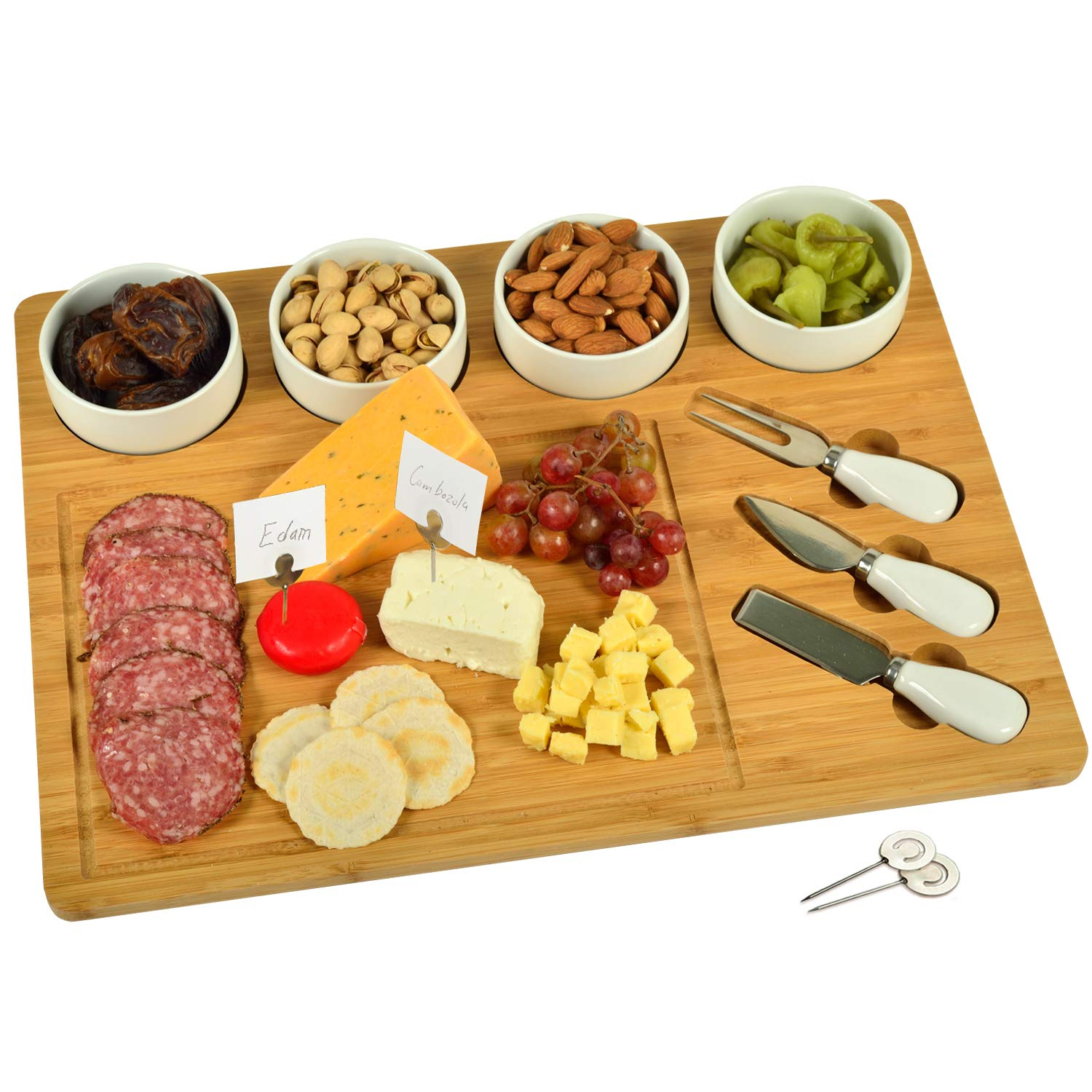 Picnic at Ascot Original Bamboo Cheese/Charcuterie Board with 4 Ceramic Bowls, Knife Set & Cheese Markers- Designed & Quality Checked in the USA