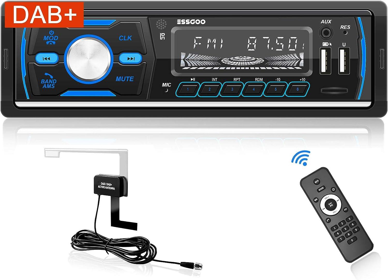 Bluetooth Freisprecheinrichtung DAB//RDS//MP3//FM//AM//SD//AUX//2 USB Funktion mit Fernbedienung Autoradio mit DAB