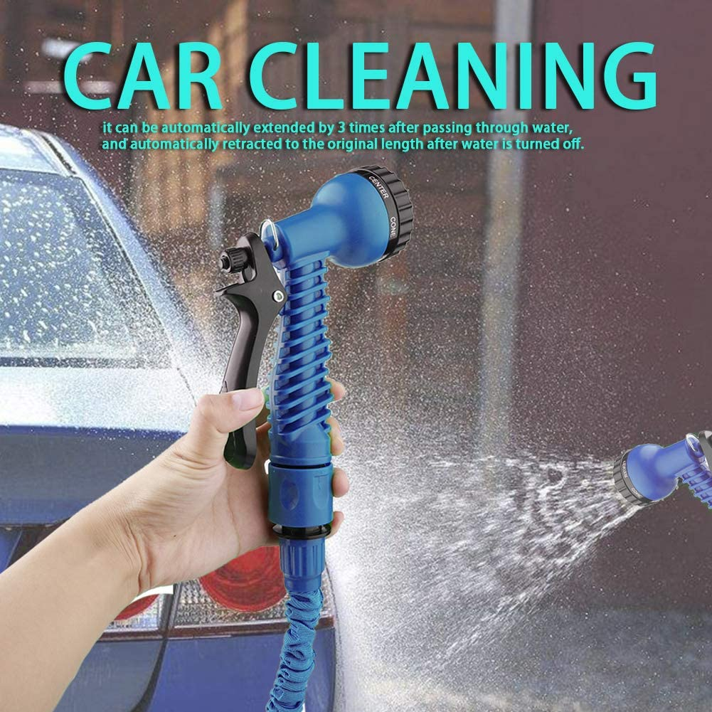 50FT Flexible Expanding Water Hose with 7 Function Spray Nozzle for Watering Plants Car Washing Expandable Garden Hose Pets and Cleaning