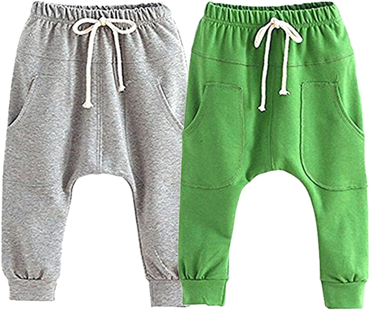 ZHW Toddler Baby Boys Girls Cotton Pure Color Active Jogger Pants